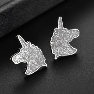 Silver Glitter Unicorn Earrings